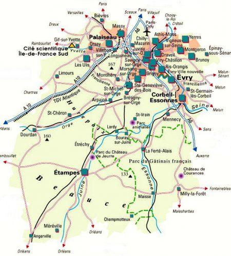 Carte des ville d'Essonne